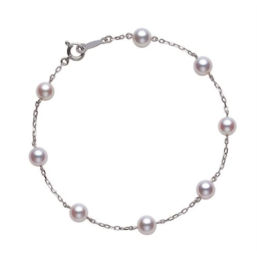 18ct White Gold Pearl Chain Bracelet - PD129W