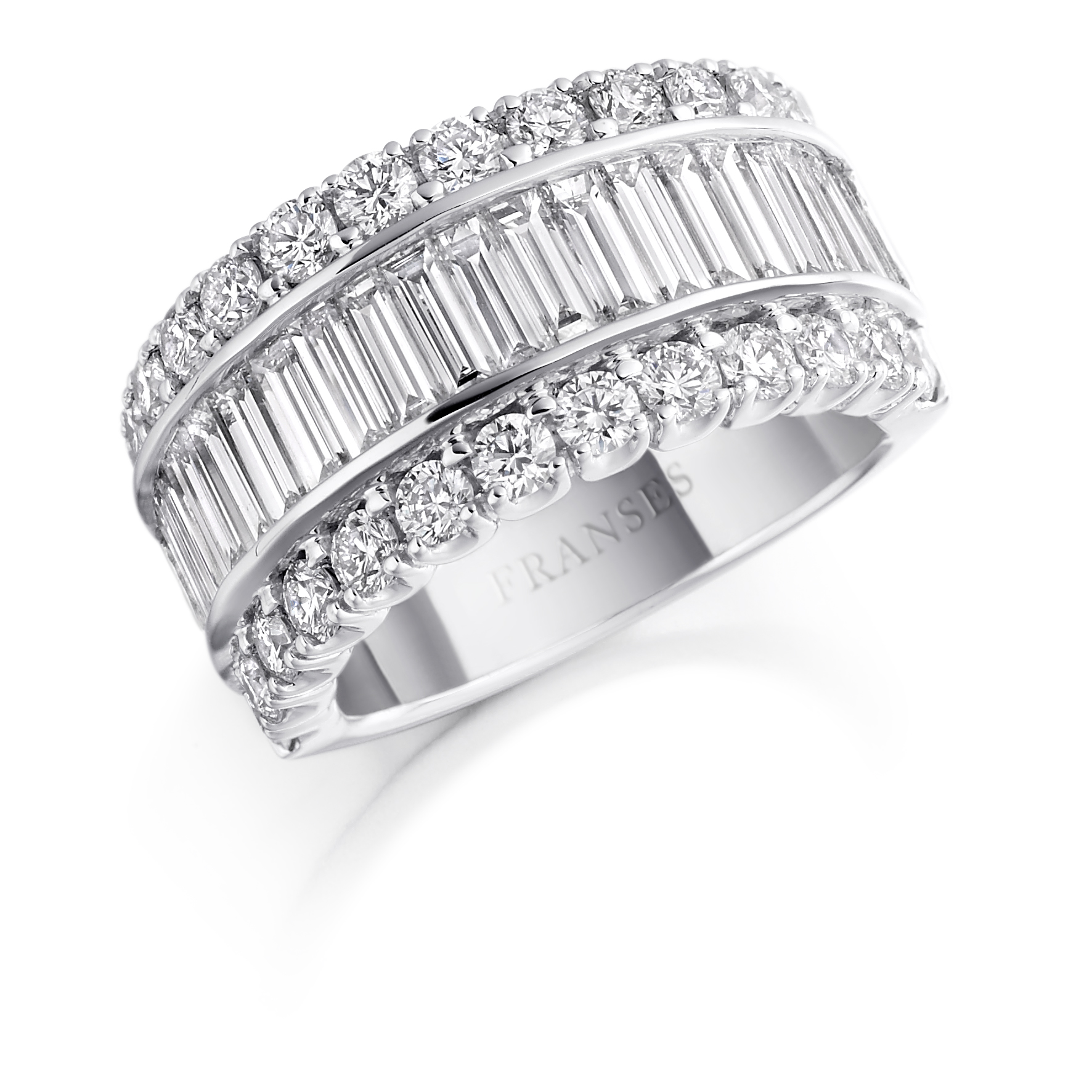 Baguette and brilliant-cut diamond ring