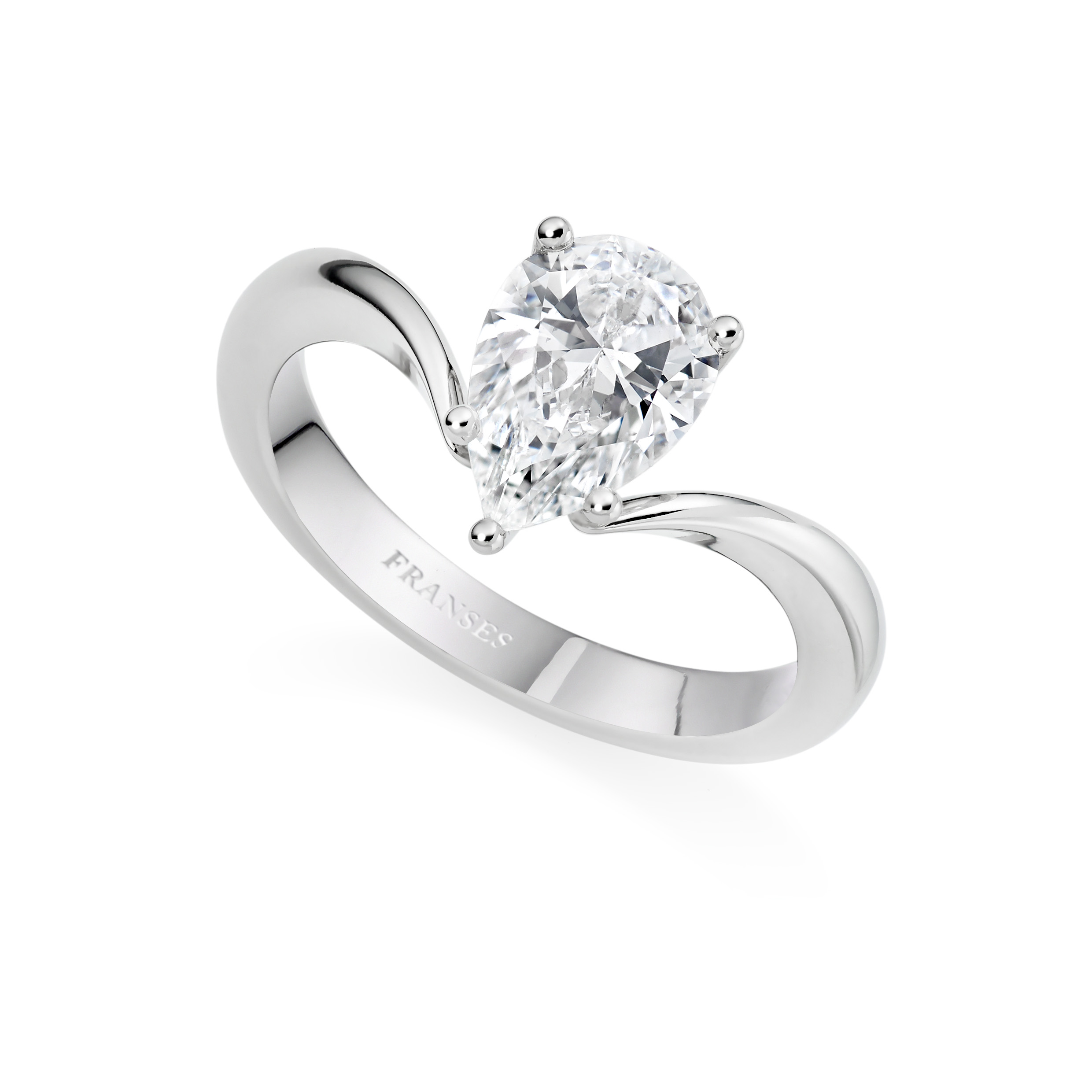 Platinum Pear Cut Diamond Ring - 01-01-043