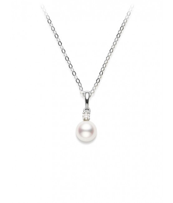 18ct White Gold Pearl & Diamond Pendant