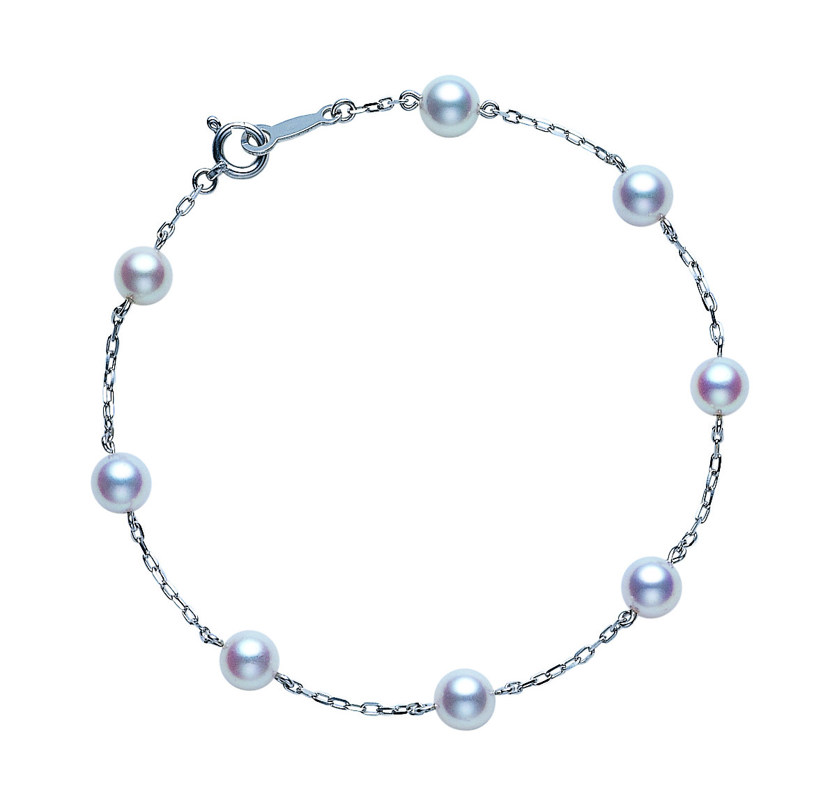 18ct White Gold Pearl Chain Bracelet