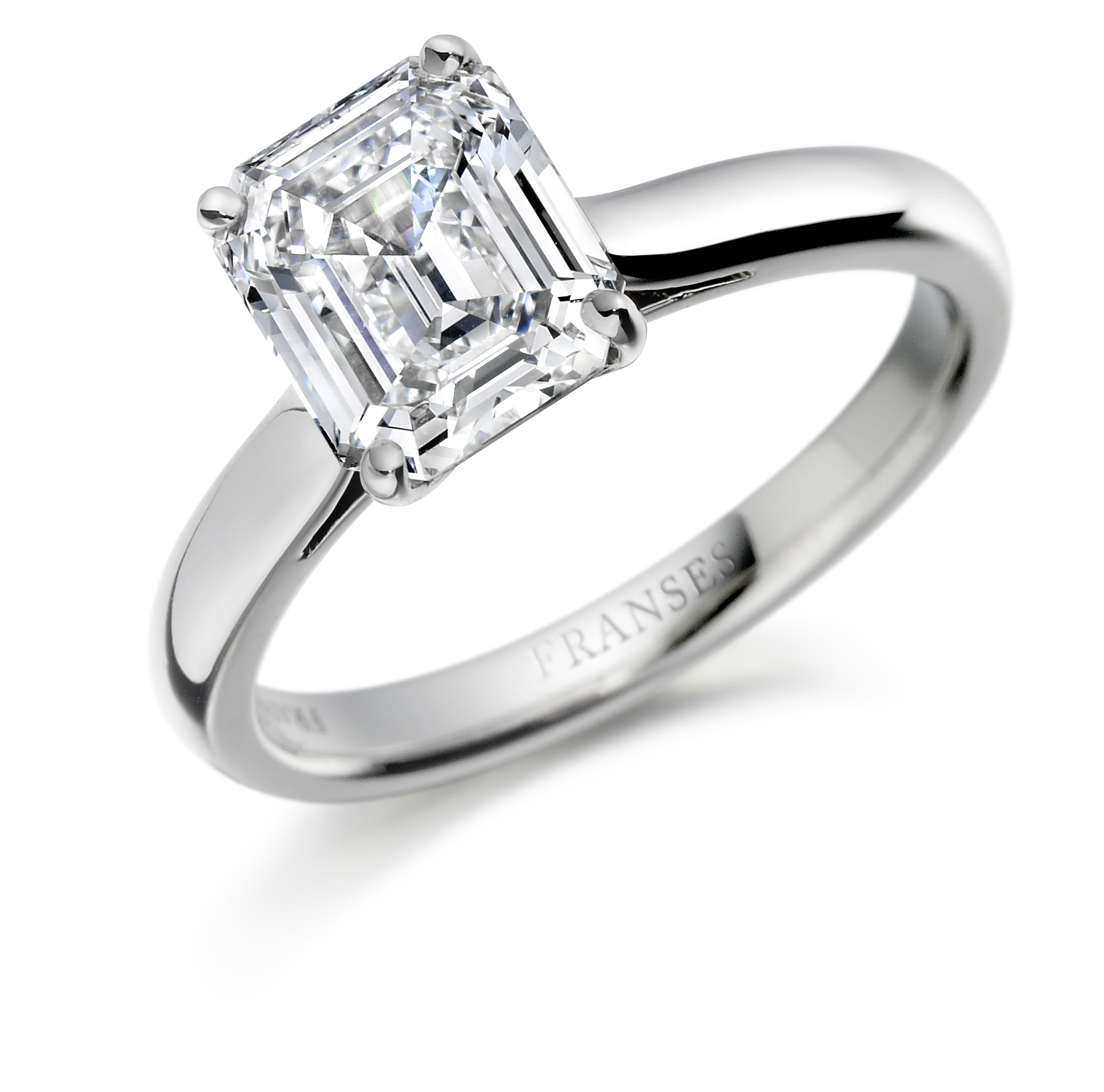 Emerald-cut diamond ring