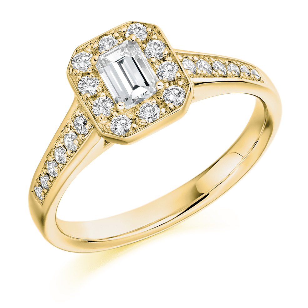 Emerald Cut Halo Ring - EMCUTHALO