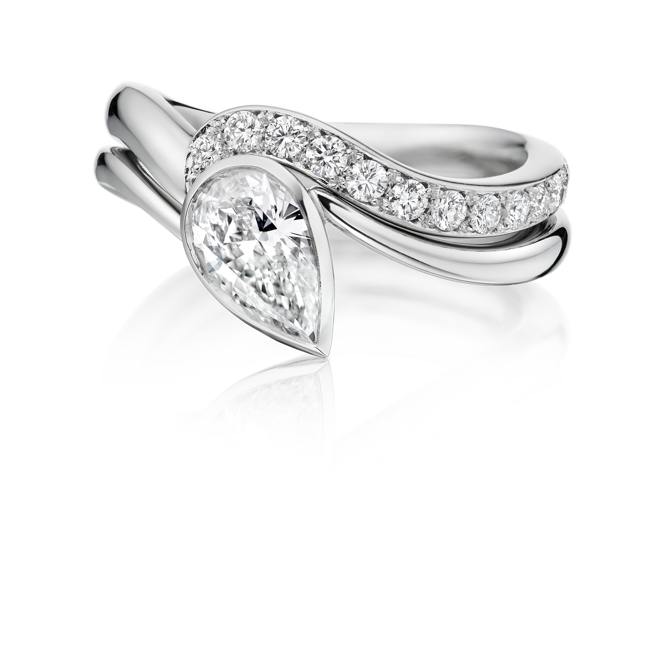 The Wave Ring with matching diamond set band - OA270 wed OA269 wave