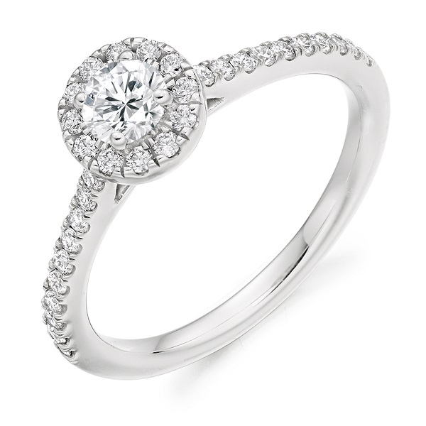 Round Brilliant-Cut Halo Ring
