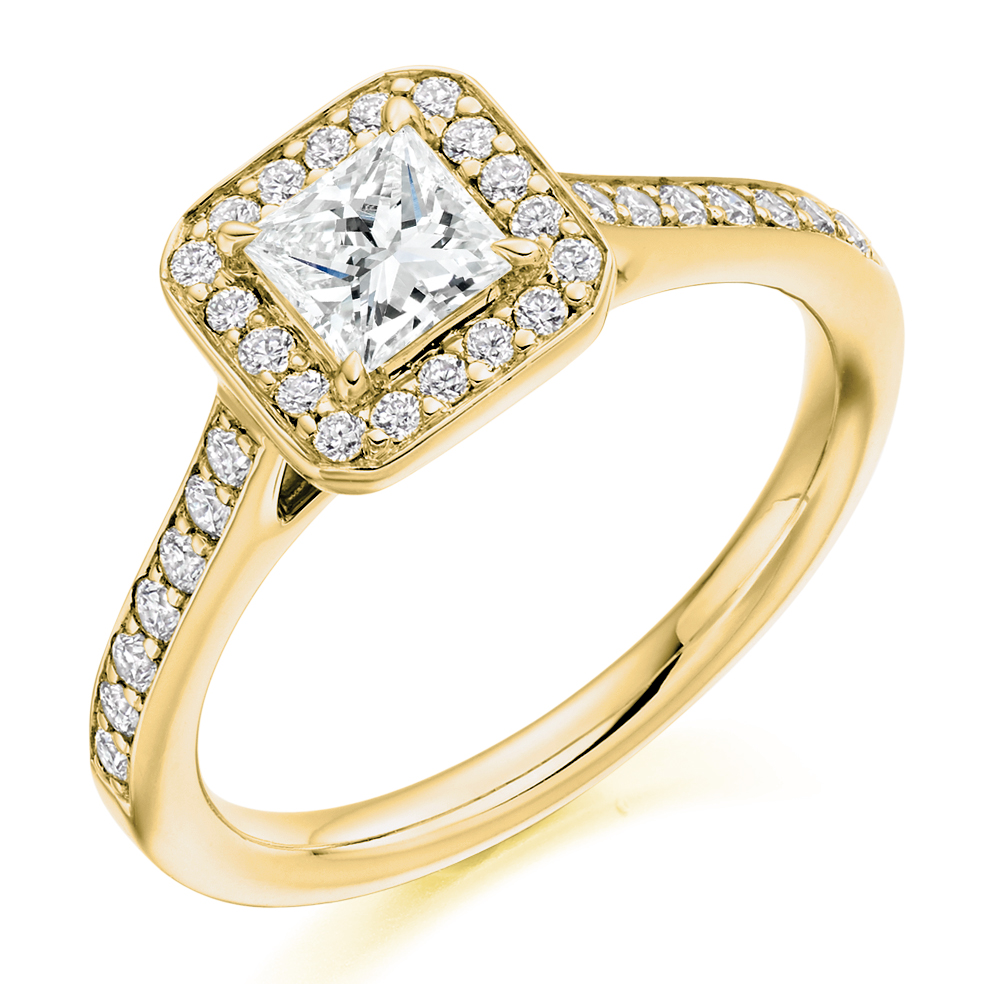 Princess Cut Halo Ring - EMCUTHALO50