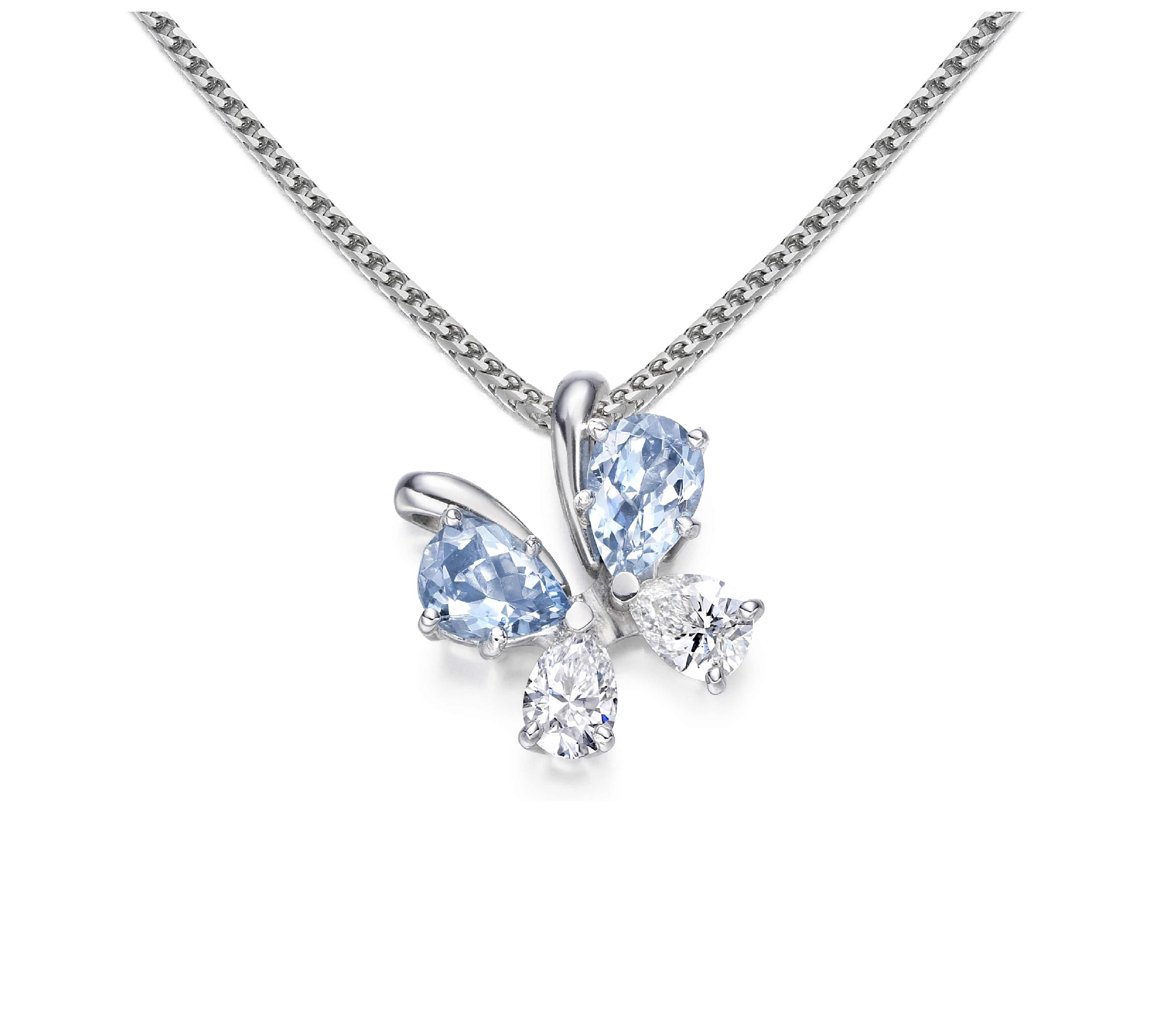 Aquamarine and diamond butterfly pendant