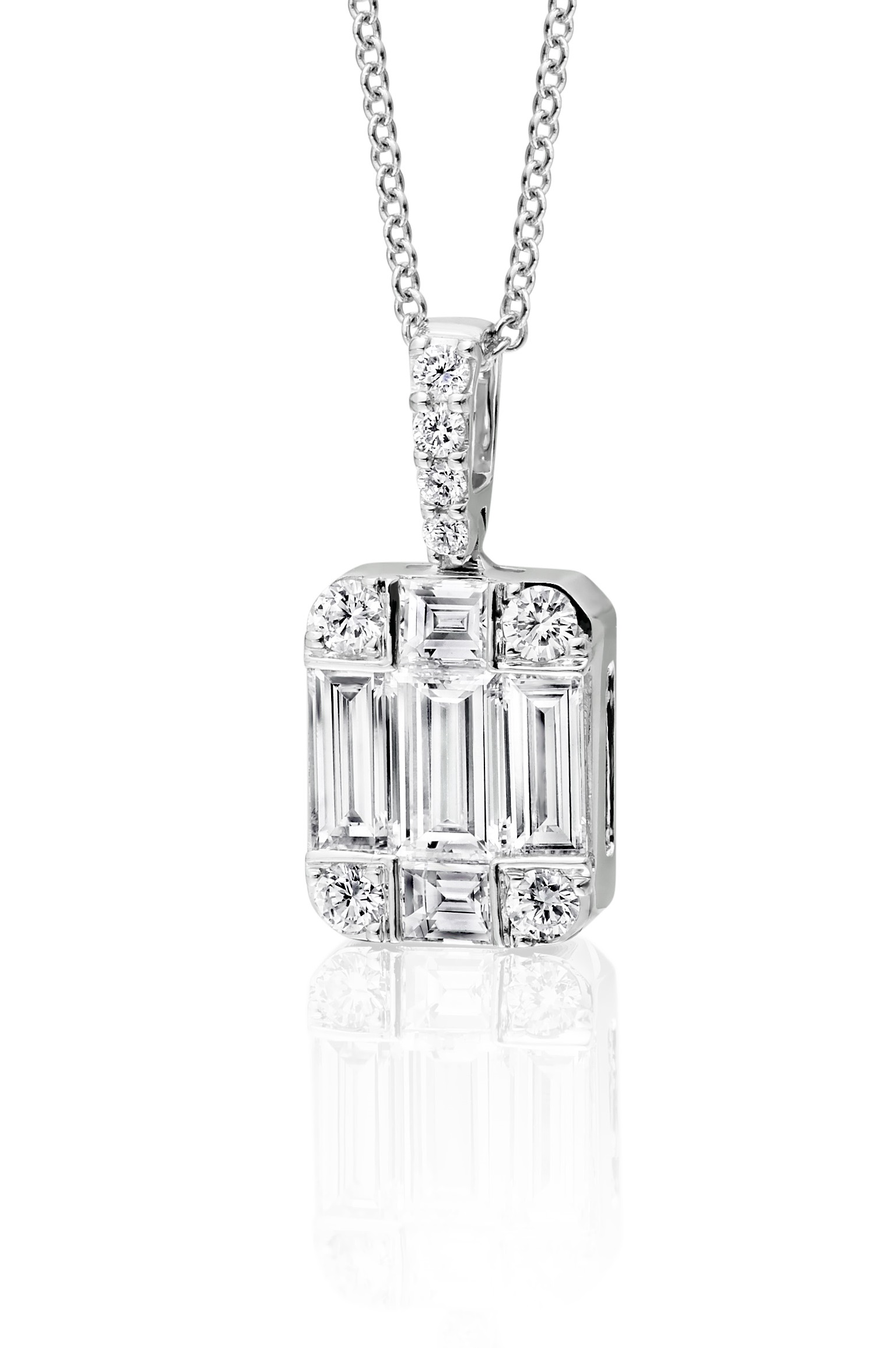 Baguette and Round Diamond Pendant - 05-01-154