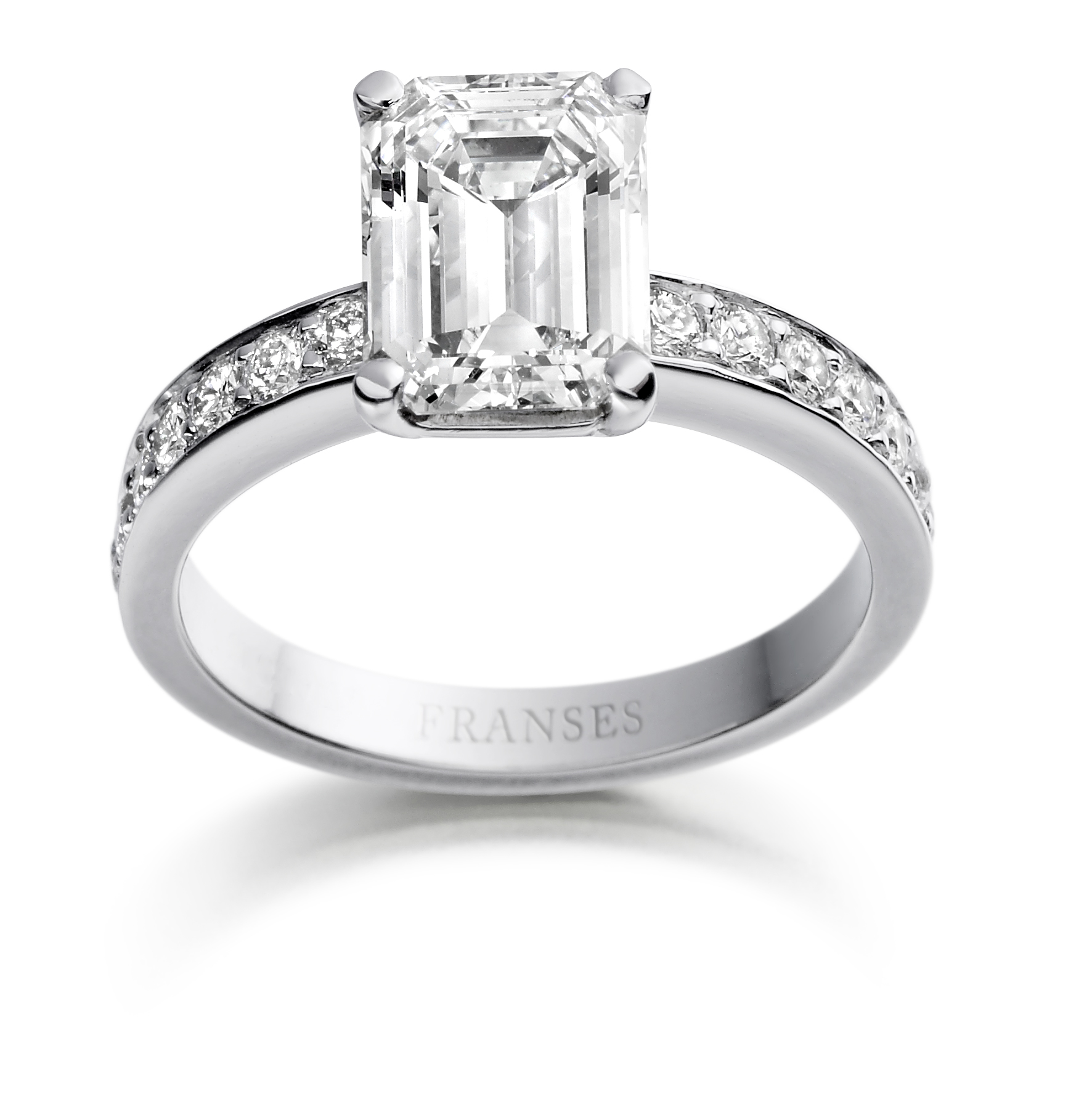 Platinum diamond ring - Emerald cut with diamond shoulders