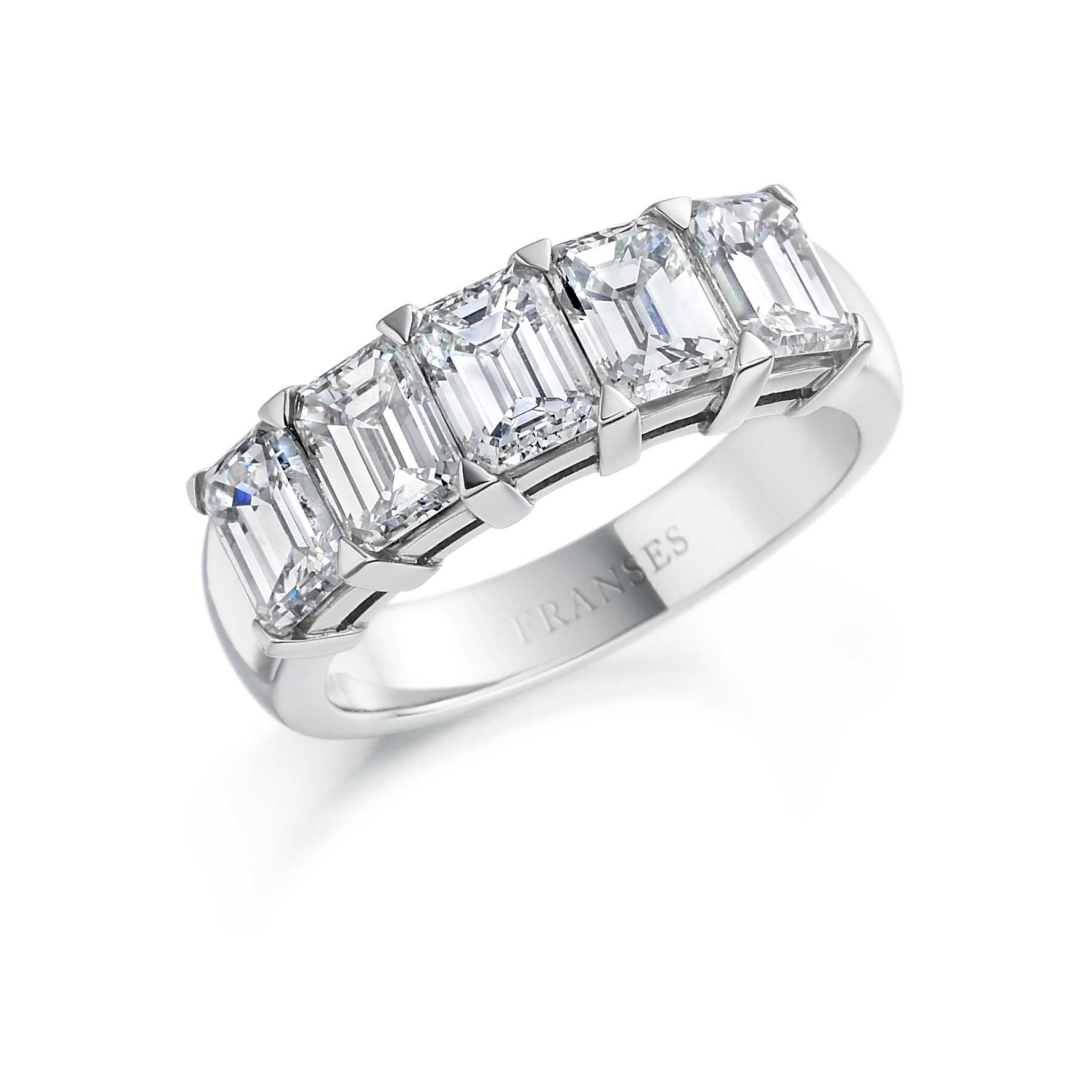 Emerald-cut diamond ring - 5 stone em cut