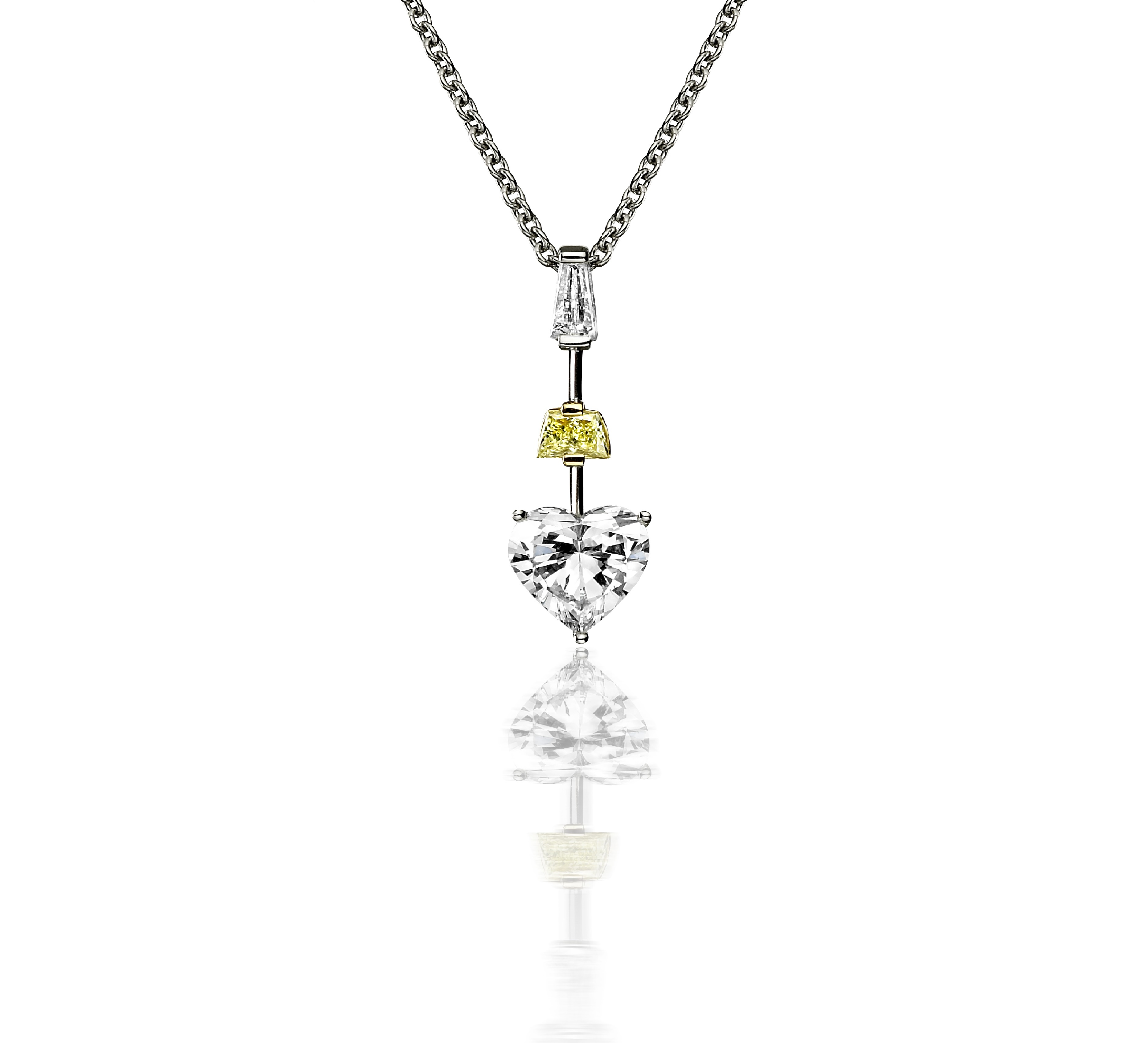 Yellow and white diamond pendant - Yellow and white diamond pendant