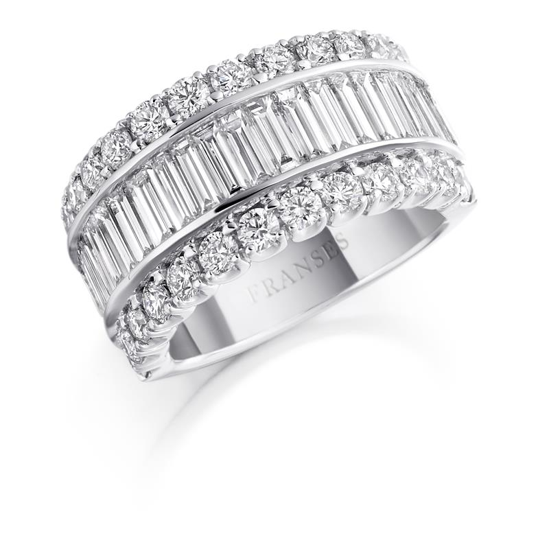 Baguette and brilliant-cut diamond ring  - NA095