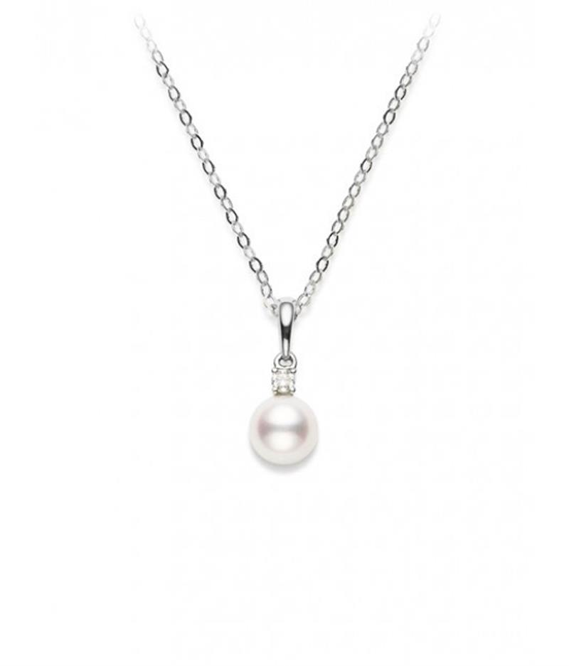 18ct White Gold Pearl & Diamond Pendant  - PPS803D