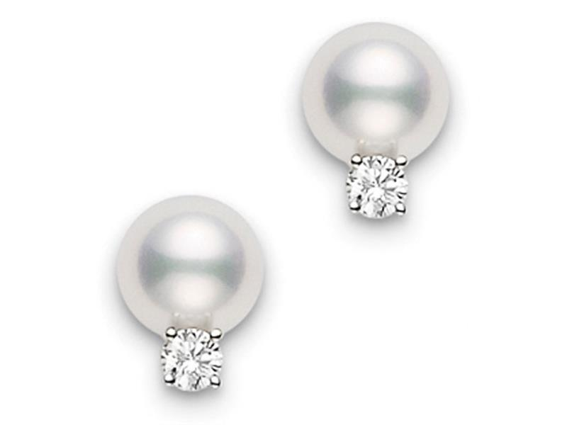 18ct White Gold Pearl & Diamond Earrings  - 07-02-035